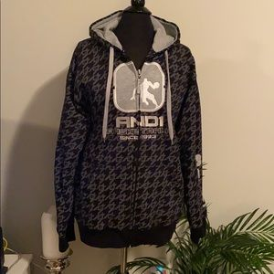 And1 Men's zip up black & gray embroidered hoodie